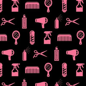 Salon & Barber Hairdresser Pattern in Coral Pink with Black Background
