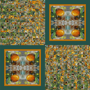 Oranges and Grapes Four Square Cheater Quilt in Brown, Orange and Green