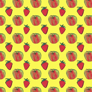 Apples and strawberries yellow