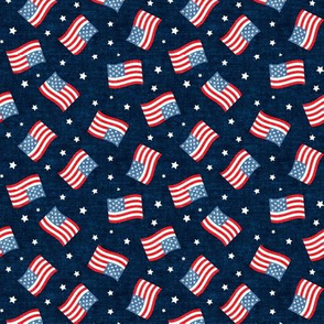 (small scale) American Flag - USA - stars and flags - navy - LAD20BS