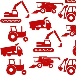 Trucks and Tractors in Red