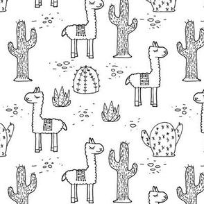 My Son's Llamas - Black & White