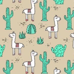 My Son's Llamas - Mint, Tan, Coral