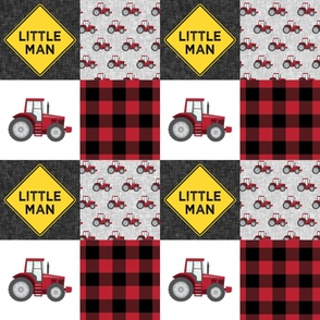 Little Man - Tractors - Red and Black - Plaid - LAD19