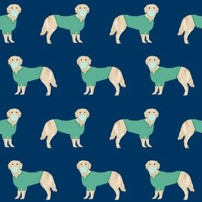 golden retriever in scrubs fabric - dogs in scrubs, vet, dentist, nurse fabric - navy