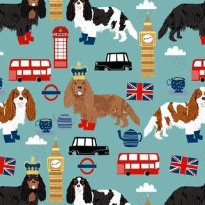 cavalier kc spaniel in london fabric - dog fabric, travel fabric, dogs - blue