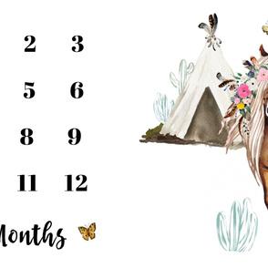"54""x36"" Floral Horse Months Blanket"