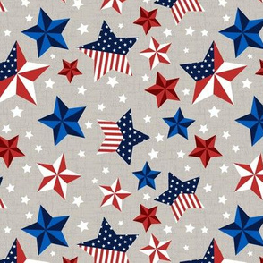 Red, White and Blue Stars with taupe background