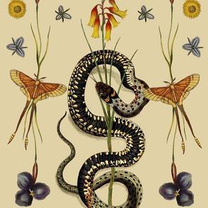 Snake, Wildflowers, & Butterflies, large scale pattern
