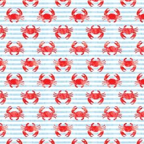 (small scale) crabs - red on blue stripes - nautical summer fabric watercolor C20BS