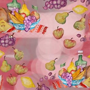 towel fruits pink picnic kitchen