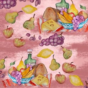 towel fruits pink
