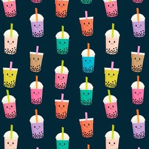 SMALL - Boba Tea fabric - boba fabric, kawaii fabric, cute fabric, food fabric, bubble tea fabric, bubble tea, kawaii food - navy