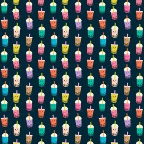 TINY Boba Tea fabric - boba fabric, kawaii fabric, cute fabric, food fabric, bubble tea fabric, bubble tea, kawaii food - navy