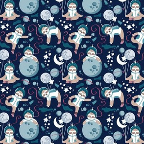 Super tiny scale // Best Space To Be // navy blue background turquoise moons and cute astronauts sloths