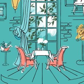 Paris Pastel Cafe Large | Cool Green