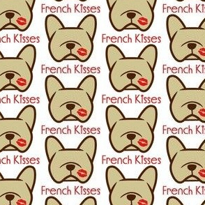 French Bulldog kisses - Frenchie kisses - tan French Bulldogs