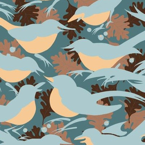 Birds Morning Chatter | Dusty Teal Green