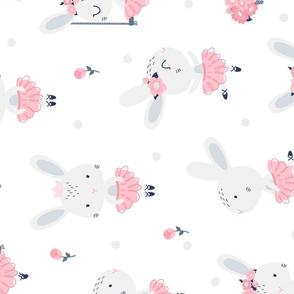 Little Bunny Ballerina - white rotated