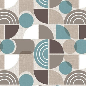 Trailway - Modern Geometric Textured Brown Teal Regular Scale
