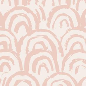 jumbo sketchy rainbows wallpaper // pink on buff