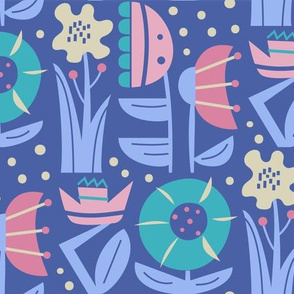 Funky flowers in blue pastel