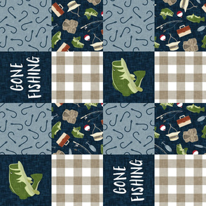 Gone Fishing Wholecloth - bass fish patchwork fishing, fisherman, bass fish, fish hooks, plaid, woodland, country boy - navy and green (90) - LAD20