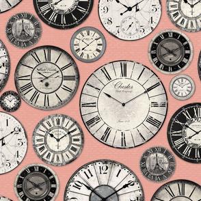 Vintage Clocks pink grey