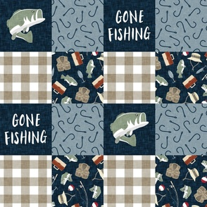 Gone Fishing Wholecloth - patchwork fishing, fisherman, bass fish, fish hooks, plaid, woodland, country boy - Navy/Sage/Tan -  LAD20