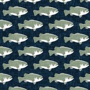 fish - bass fish - sage on navy - LAD20