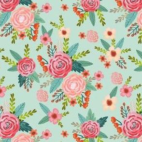 vintage florals coordinate fabric - pet friendly fabric - mint