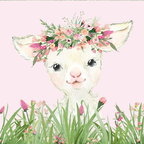 floral grass baby lamb on pink background 18x18 inches