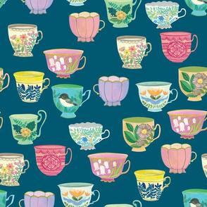 Vintage Tea Cups {Prussian Blue} large