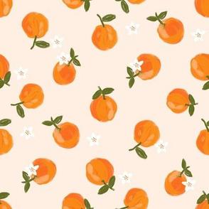 oranges fabric - orange citrus fabric - painted oranges - light peach