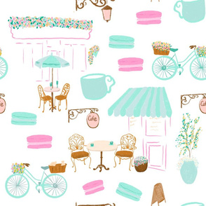 French cafe in pastel