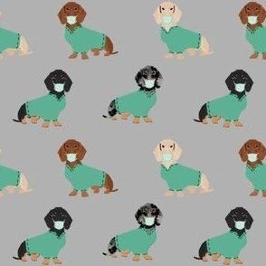 dachshund in scrubs fabric - medical nurse fabric - grey