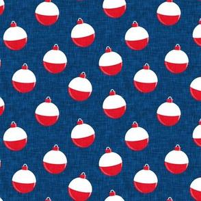 fishing bobbers - blue - fishing themed fabric, plastic floats - LAD20