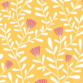 Flower vine - pink on yellow - large scale