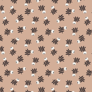 flower fabric - earth tones 2020 fabric - sfx1213 almond
