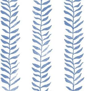 Botanical Block Print in Indigo Blue (large scale) | Leaf pattern fabric from original block print, plant fabric, garden and coastal decor.