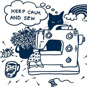 """Stay calm and sew"" lockdown, cat"
