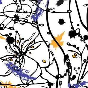 Ink abstraction, blots and stripes.