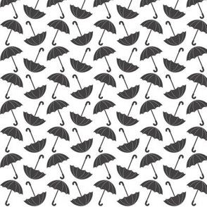 Umbrellas Topsy Turvy Gray On White