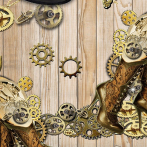 Steampunk repeat pattern on wood