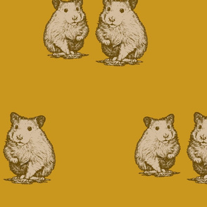 Cute hamster graphics. Yellow vintage with animals.