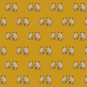 Cute hamster graphics. Yellow vintage with animals.-ed