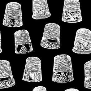 Vintage Thimbles in B&W with Black Background (Large Scale)