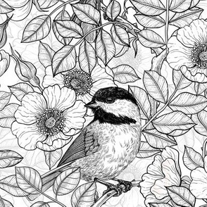 Chickadees in the wild rose, black and white