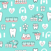 Mint Dentist and Orthodontic medicine fabric pattern with teeth, tooth, invisible braces, water floss irrigation, toothbrush. Oral hygiene design.