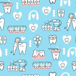 Blue Dentist and Orthodontics medicine fabric pattern with invisible braces, water floss irrigation, toothbrush. Oral hygiene design.
